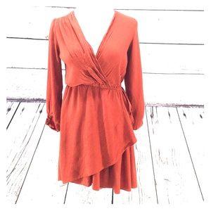 Rust Colored Faux Wrap Blouson Dress